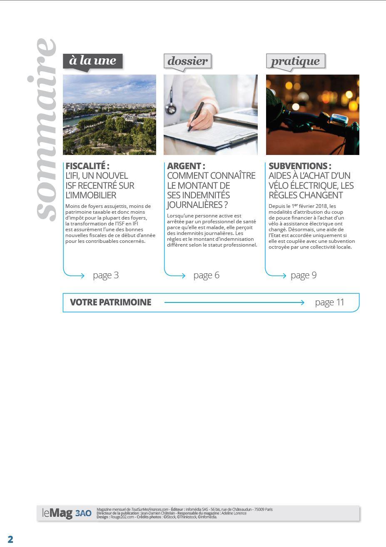 Sommaire du magazine 29 | IFI, nouvel ISF recentré sur l'immobilier