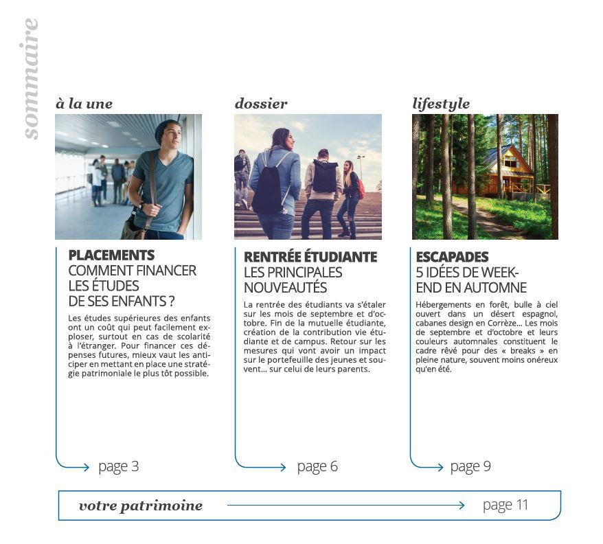 Sommaire Mag 35 3AO Patrimoine Comment financer les études de ses enfants ?